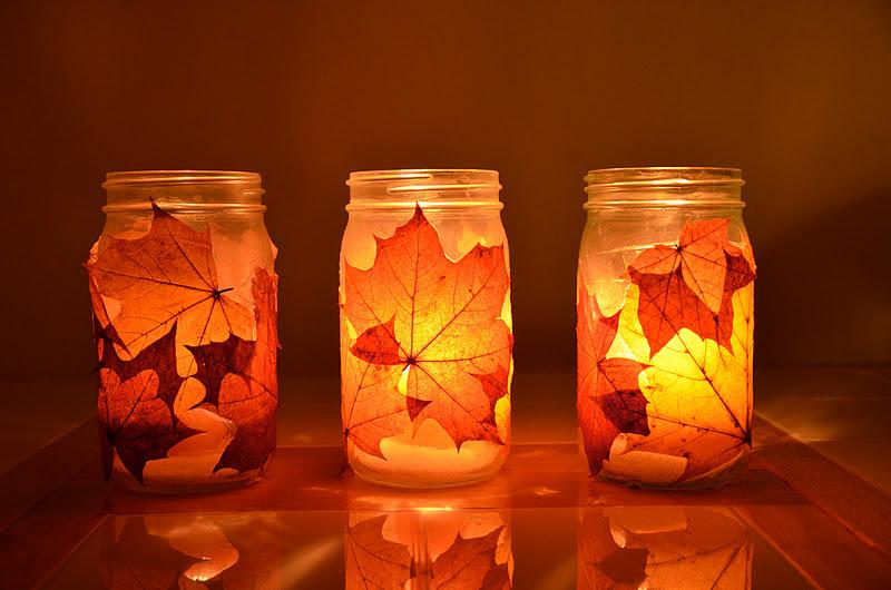 Лампа из осенних листьев