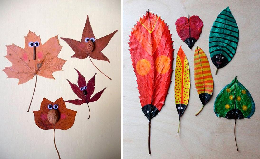 насекомые из осенних листьев