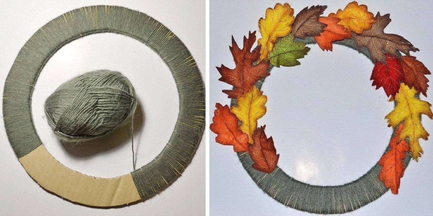 Заготовка для венка из осенних листьев