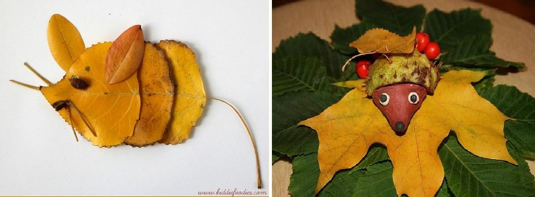 Зверюшки из осенних листьев